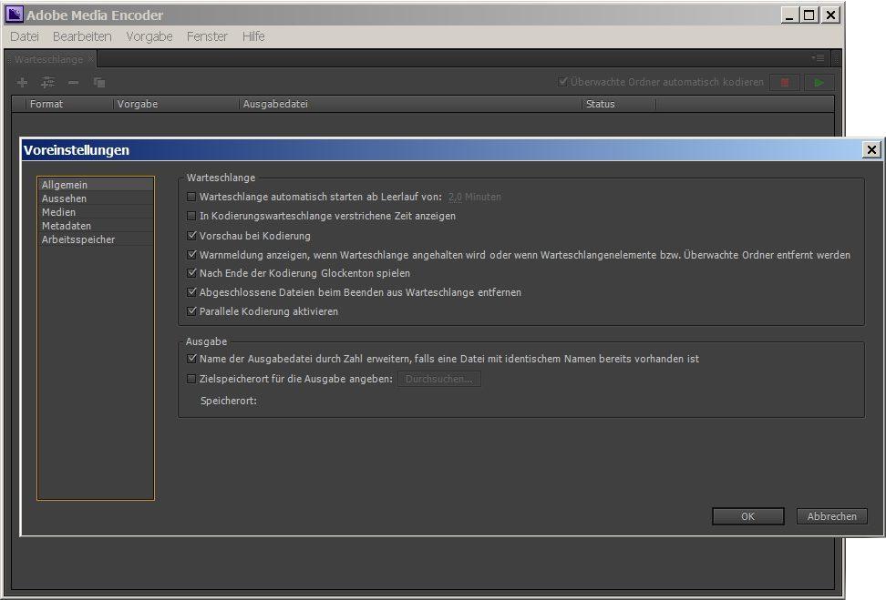 Adobe Media Encoder Youtube Video in MP3 Lied Datei wandeln