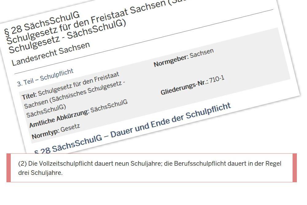 Berufsschulpflicht in Sachsen