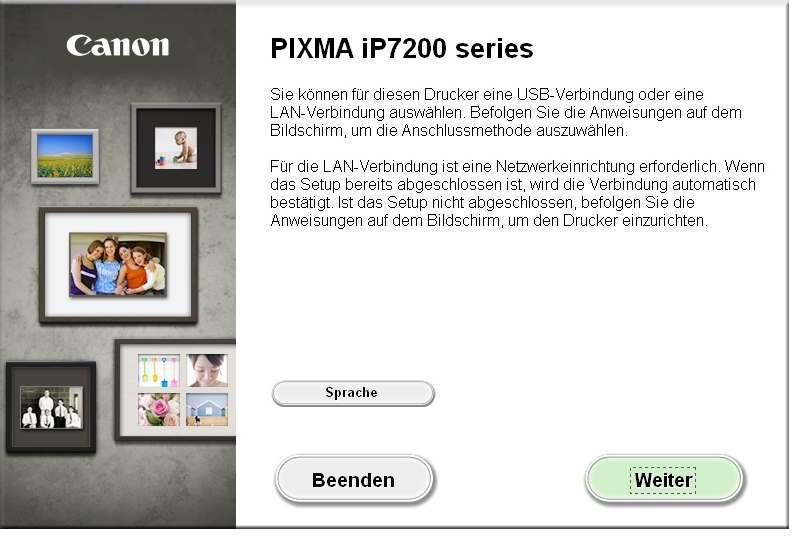 Canon Pixma IP7200 Series - WLAN Treiber Einrichtung - Start