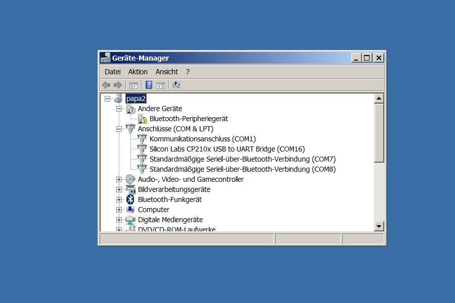 Computer Geräteanager Anschlüsse USB Port für Arduino