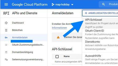Google Cloud Platform API-Schlüssel für Google Maps erstellen