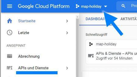Google Cloud Platform APIs akziveren für Google Maps