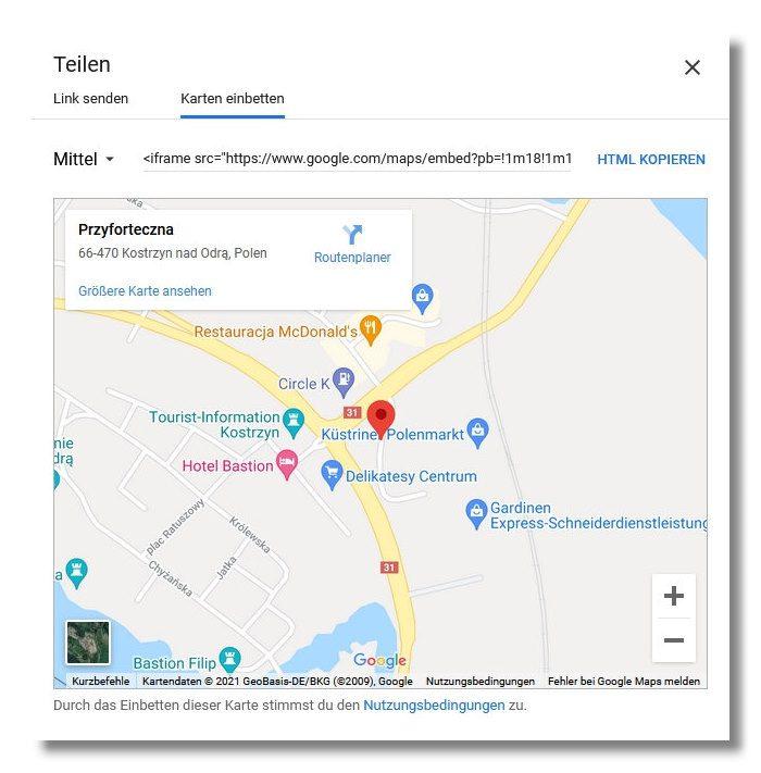 Google Maps richtige URL einbinden