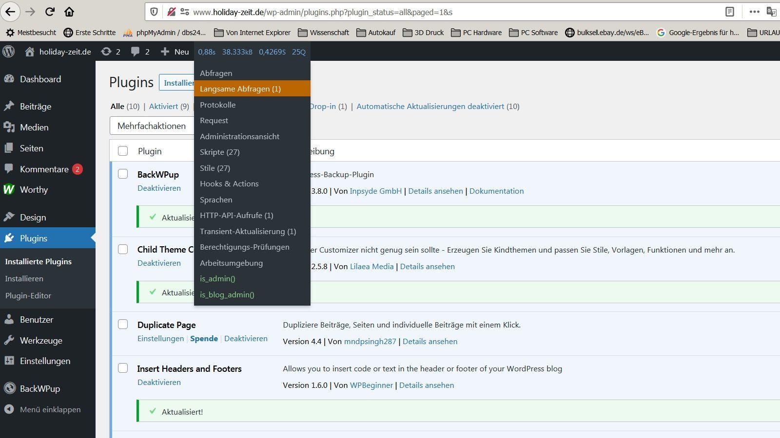 """Das Plugin """"Query Monitor"""" erkennt """"BackWPup"""" als Wordpress-Bremse"""