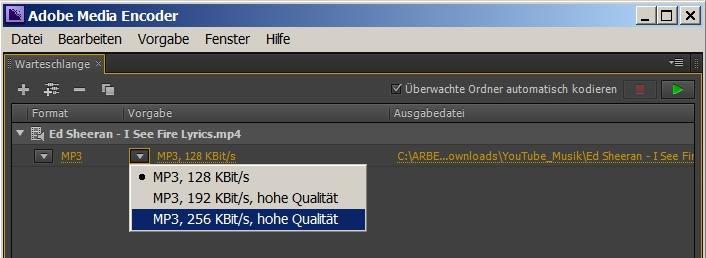 Video Adobe Media Encoder MP3 konvertieren