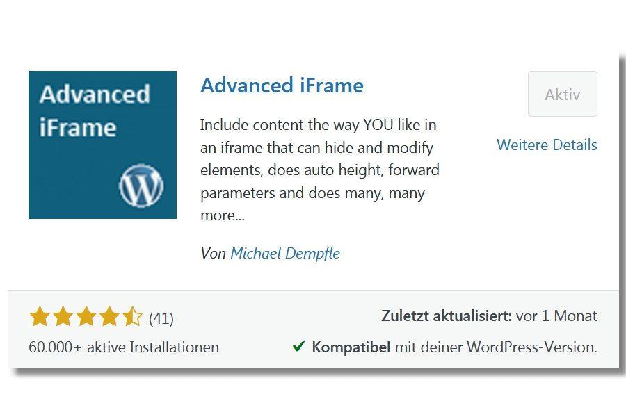 Wordpress Plugin Advanced iFrame