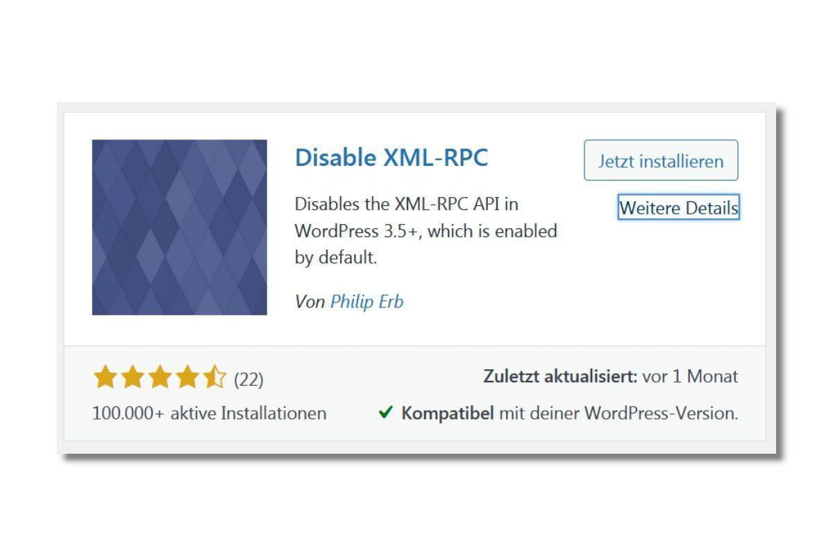 Wordpress Plugin Disable XML-RPC