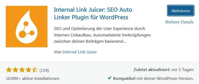 Wordpress Plugin Internal Link Juicer - Interne Auto Verlinkung