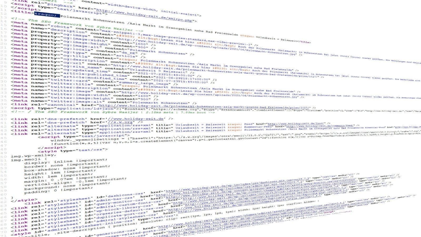 Quellcode, Quelltext einer Website