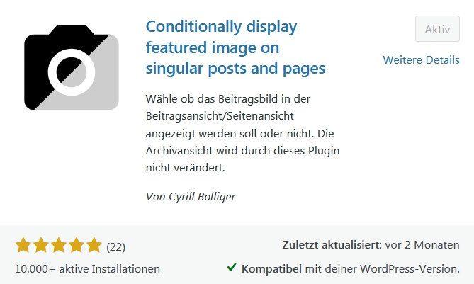 Wordpress Beitragsbild selektim imn Beitrag ausblenden, in Listen anzeigen